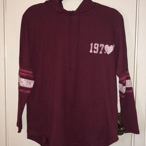 About A Girl size XS burgundy hooded pullover